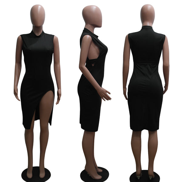 Black Club O-Neck Sleeveless A-Line Knee-Length Club Dresses