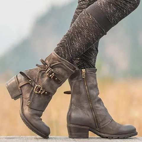 Leather Buckle Zipper Chunky Heel Ankle Boots