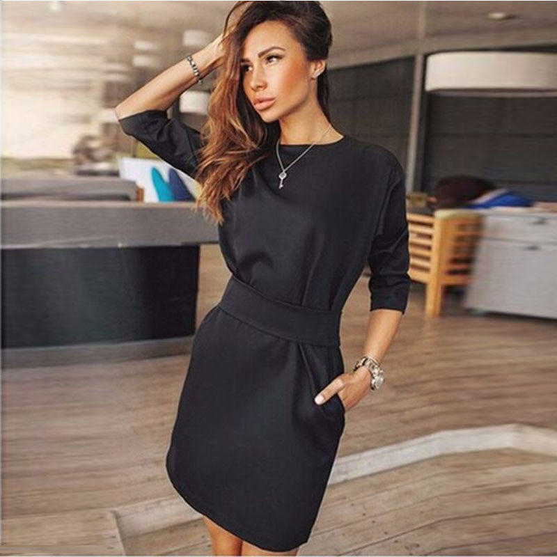 Hot Style Black Long Sleeve Scoop Short Dress With Belt