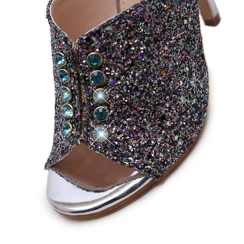 Blue High Heel Peep Toe Sequin Sandals