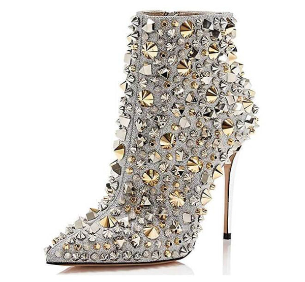 Rhinestone Pointed Toe Zipper Ankle Boots
