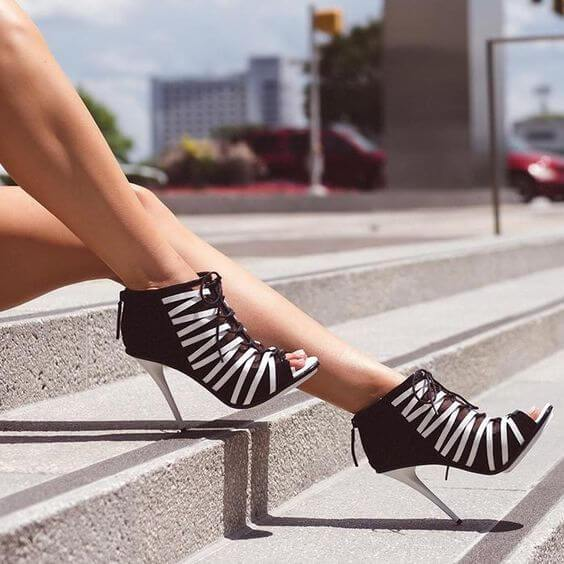 Suede Strap Stripe High Heel Ankle Sandals
