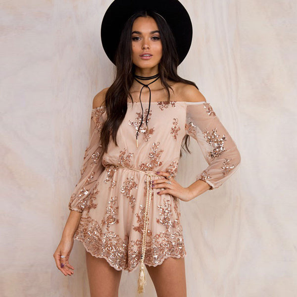 Sequins Elastic Off-Shoulder Long Sleeve Tassel Belt Short Jumpsuit