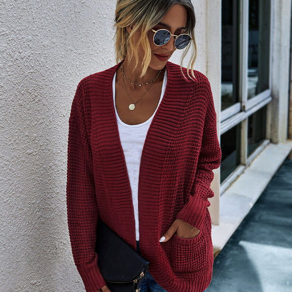 Open Front Knitted Soild Sweater Cardigan