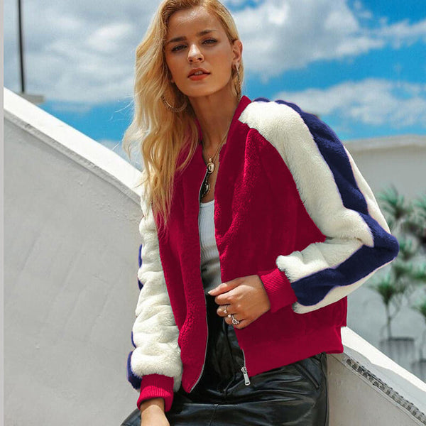 Fashion Colorblock Fleece Jacket