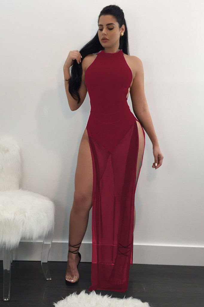 Bear Shoulder Pure Color Splint Long Mesh Dress