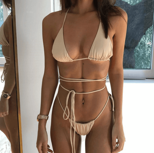 Hot Halter Plain Bandeau Thong Bottom Bikinis