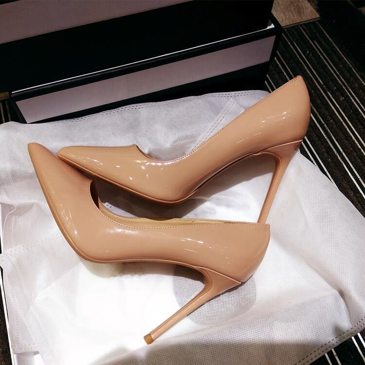 Simple Patent Leather Plain Pointed Toe Stiletto Heel Pumps