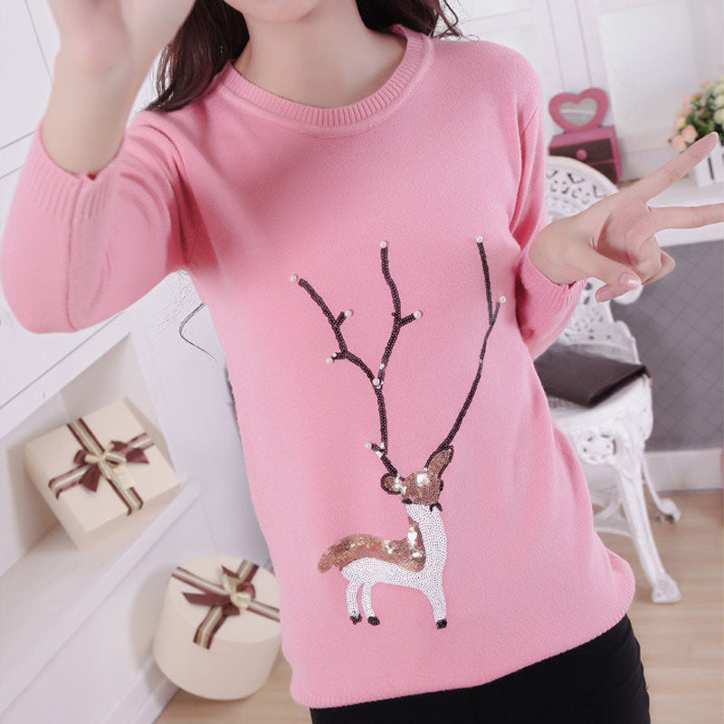 Sequin Bead Reindeer Christmas Sweater