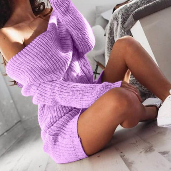Off Shoulder Bodycon Ribbed Knit Winter Short Dress
