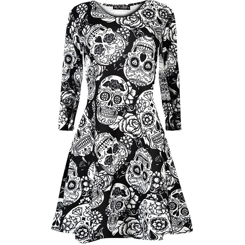 Halloween 3/4 Sleeve Print Holiday A Line Dress