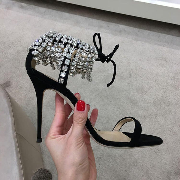Rhinestone Strappy Ankle Embellished Crystal Sandals
