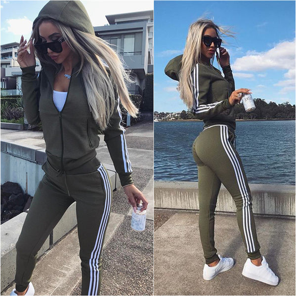 Stripe Zipper Hoodie with Long Skinny Pants Women Two Pieces Sports Set