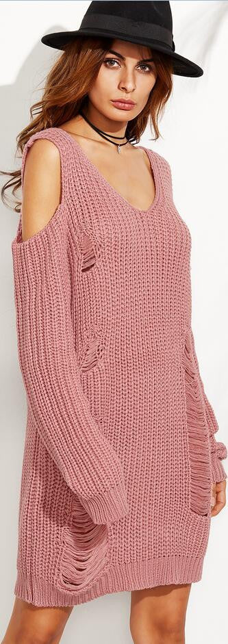 Sexy Dew Shoulder Pullover Long Sweater