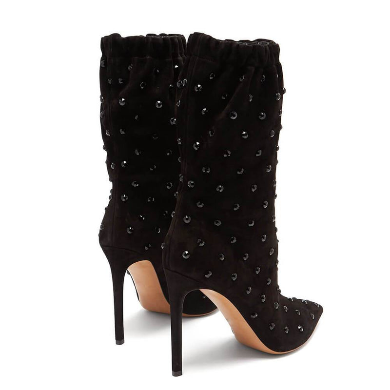 Black Suede Rhinestone Pointed Toe High Heel Calf Boots