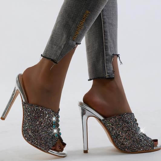 Fashion Silver Rhinestone Peep Toe High Heel Sandals