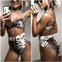 Tiger Print Buckle High Rise Triangle Bikinis