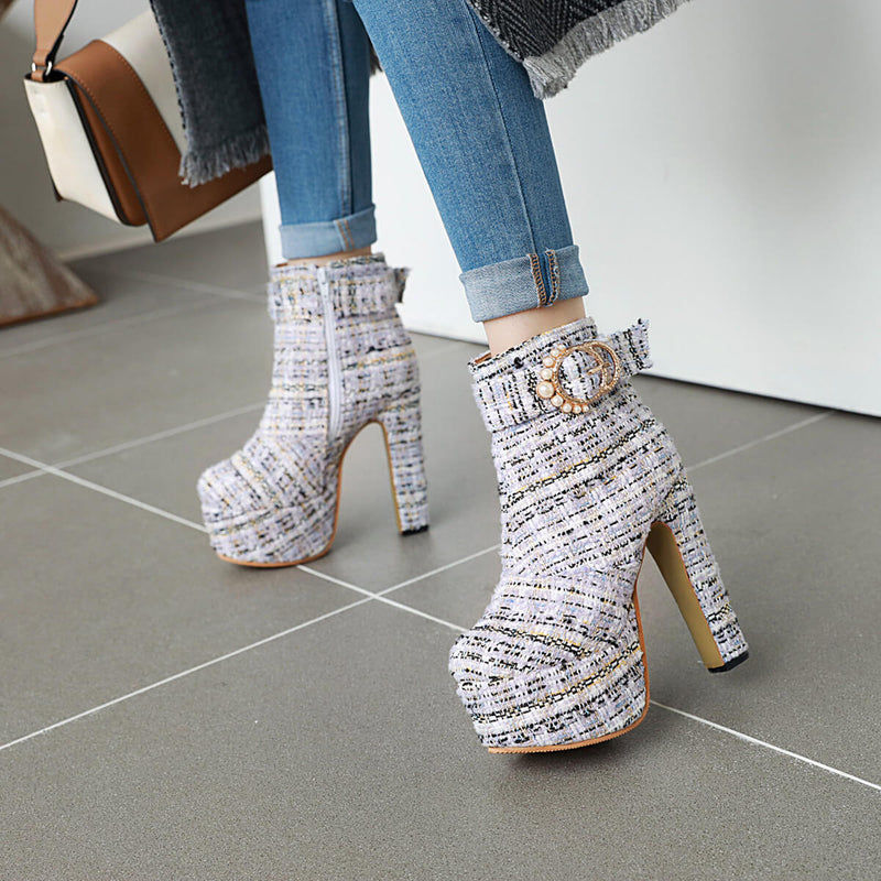 Woolen Plaid Platform Chunky Heel Ankle Boots