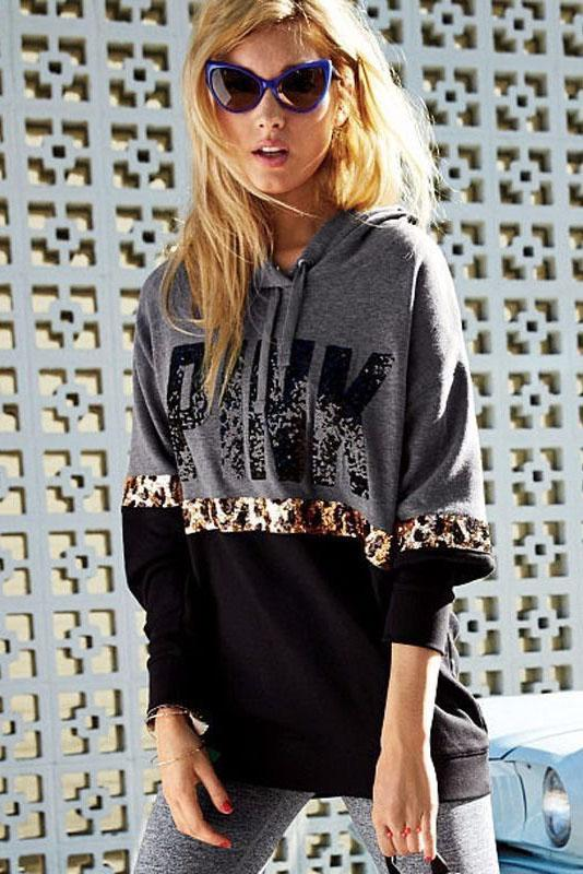 Letter Print Leopard Patchwork Drawstring Loose Hoodie
