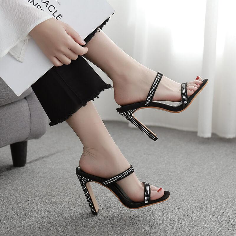 Black Suede High Heel  Square Toes Sandals