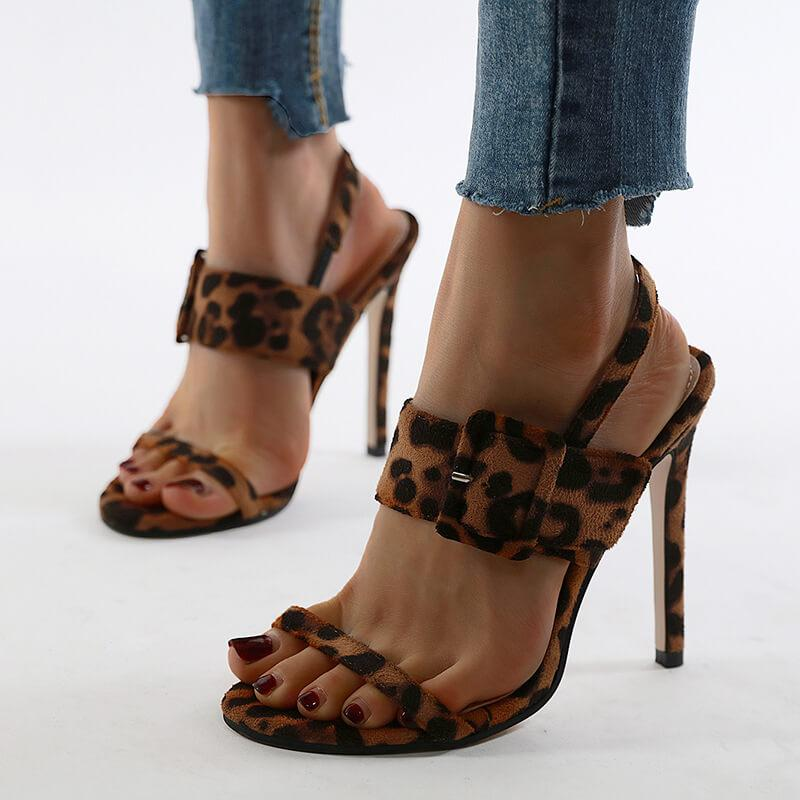 Snakeskin Leopard Leather Buckle Sandals