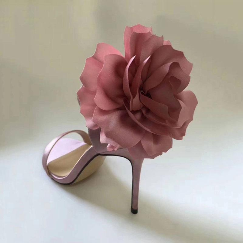 Sexy Open Toe Flower Embellished High Heel Sandals