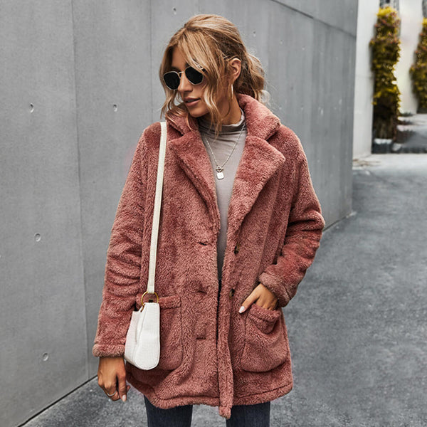 Fleece Lapel Warm Cardigan