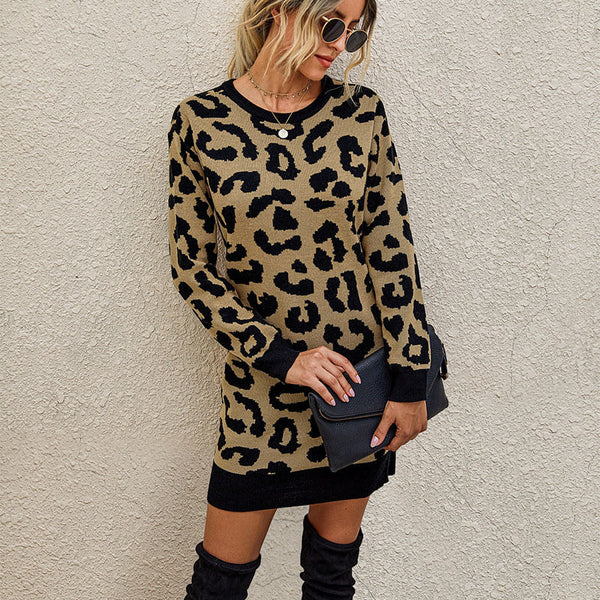 Leopard Slim Short Sweater Dress
