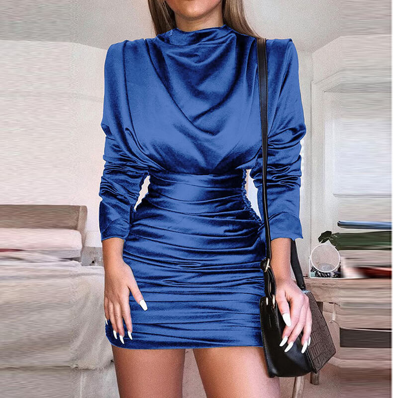 Satin Bodycon High Neck Short Dress