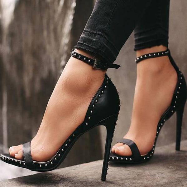 Leather Rivet Buckle High Heel Sandals