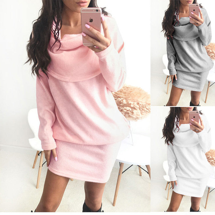 Pure Color Long Sleeves Lapel Neck Scoop Long Sweater