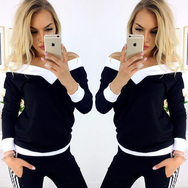 V-neck Patchwork Long Sleeves Regular T-shirt