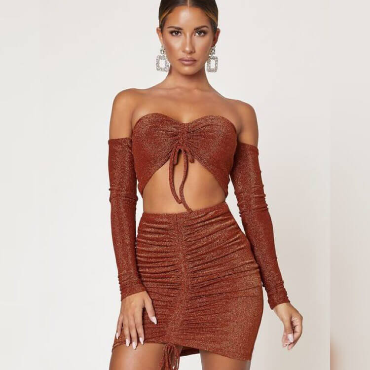 Spaghetti Straps Crop Top Patchwork Short Skirt Set