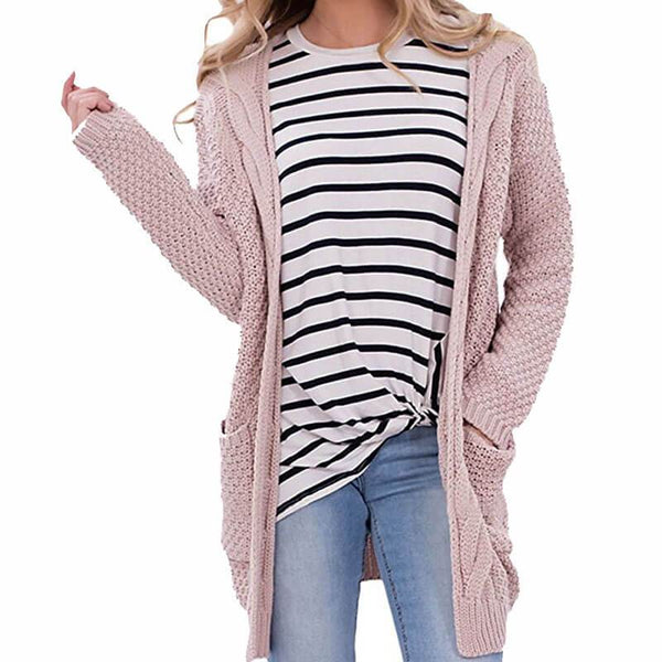 Oversized Cable Knit Pockets Cardigan