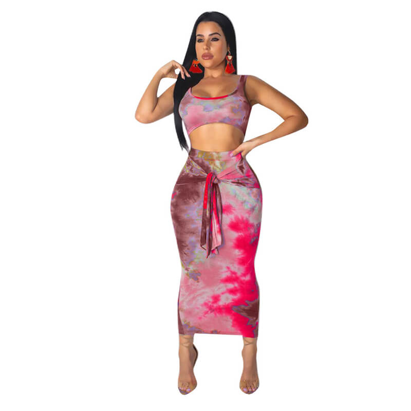 Spaghetti Straps Crop Top Calf Skirt Set