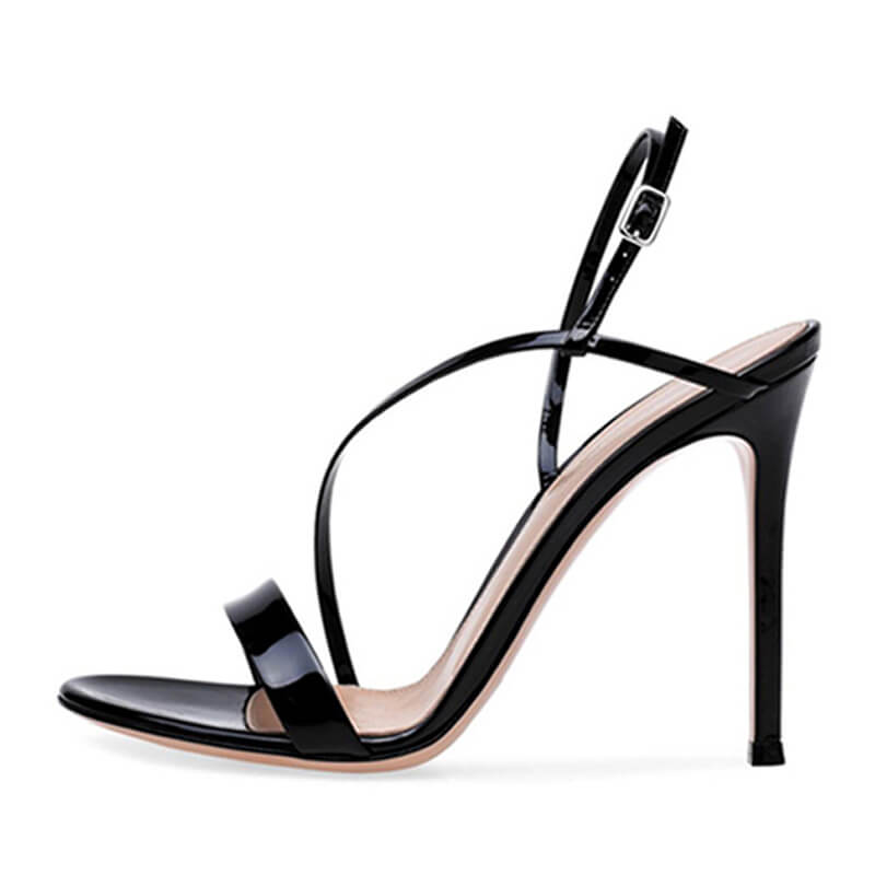 Simple Leather Open Buckle Stiletto Heel Sandals