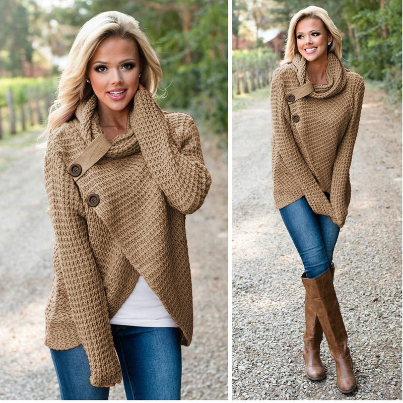 Turtleneck Buttons Irregular Wrapped Women Cardigan