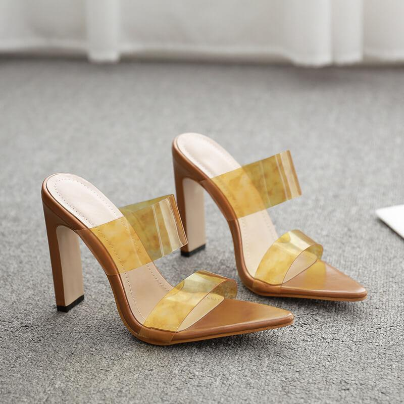 Clear Leather Chunky Heel Pointed Toe Sandals