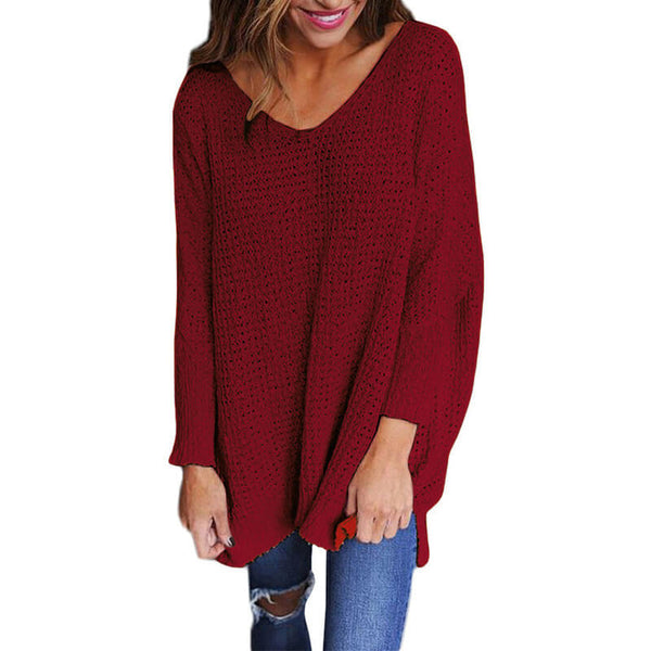 V-Neck Loose Oversized Long Sleeve Women Sweater