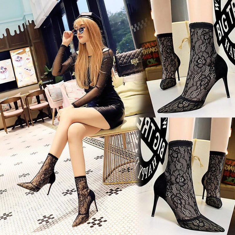 Sexy Black Lace Point Toe Stretch High Heel Ankle Boots