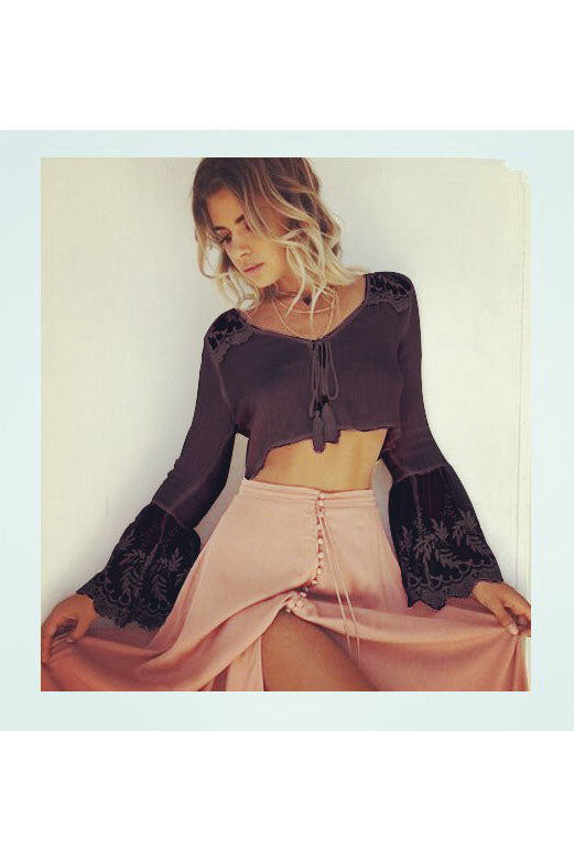 Tassels Long Trumpet Sleeves Lace Patchwork Short Crop Top