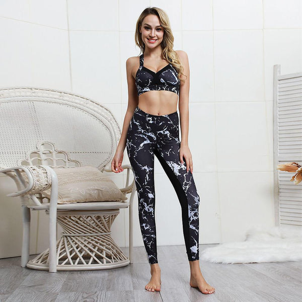 Sexy Black Print Tank Top High Waist Bodycon Skinny Pant Sets