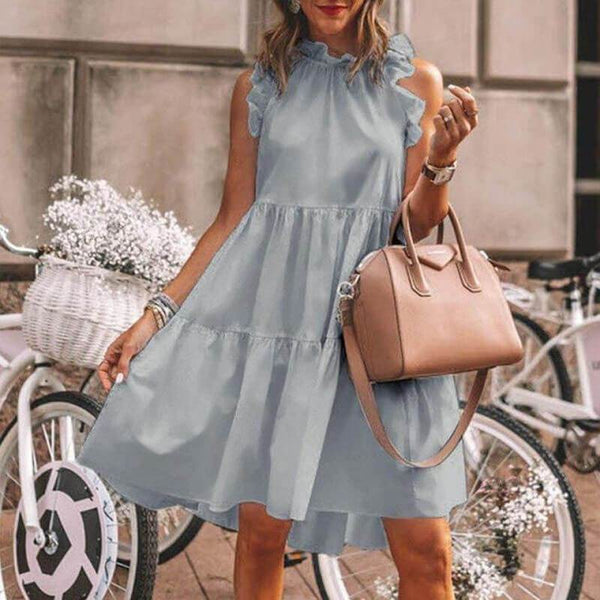 Ruffle Collar Sleeveless Short A Line Dress