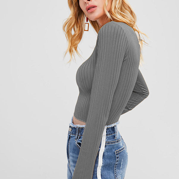 Turtleneck Fitted Ribbed Cropped Top