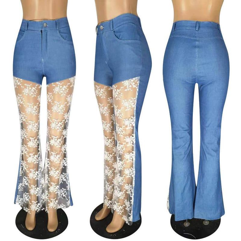 Lace Patchwork Hollow Skinny Straight High Waist Jeans bellbottoms
