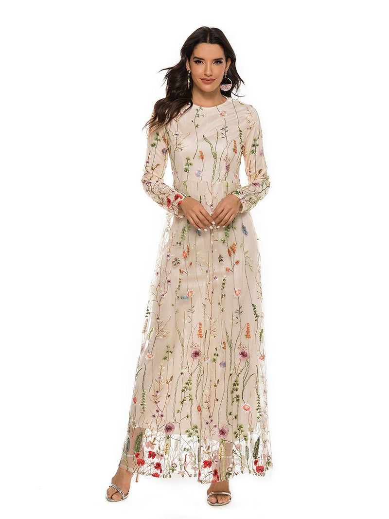 Embroidery Flowers Transparent Mesh Patchwork Long Dress