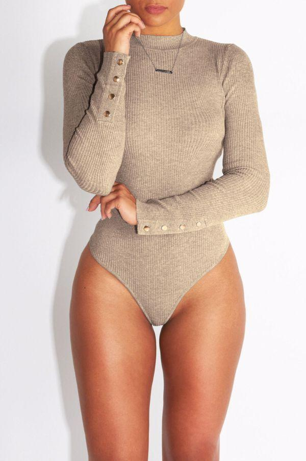 Sexy Knit High Neck Button Decorate Bodysuit