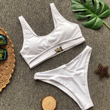 Belt Buckle Pure Color Spaghetti Straps Cut Out Low Waist Two Pieces Swimwear