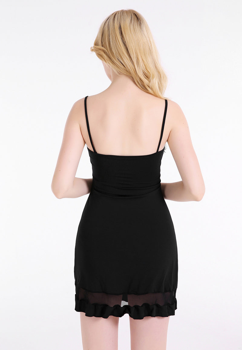 Sexy Black Lace Spaghetti Strap Splicing Short Dress