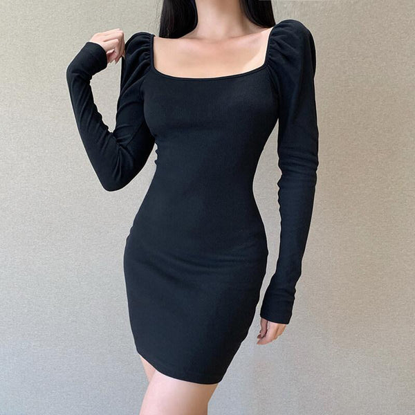 OL Backless Bodycon Ribbed Short Dress